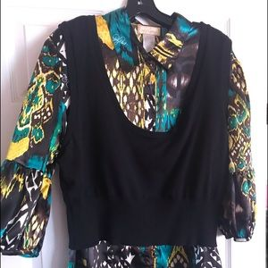 Multicolor blouse with a vest